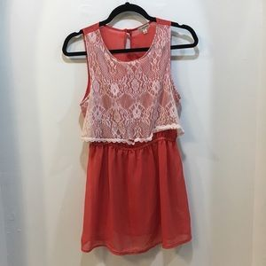 Lily White Orange Dress with White Lace